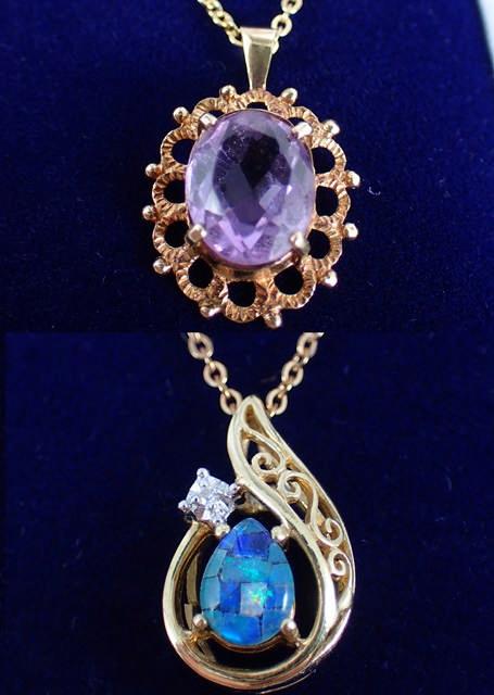 Two 9ct gold gem set pendant & chains