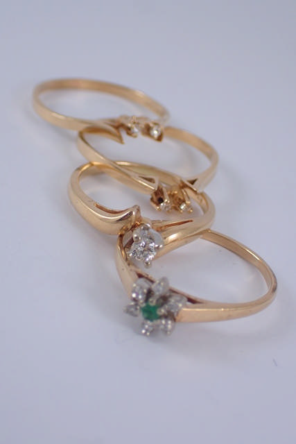 Four gem set rings