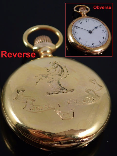 A gold fob watch approx. 36 grams