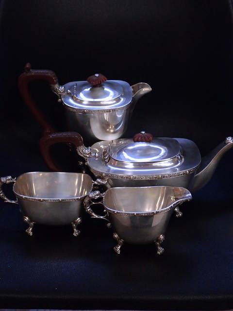 A silver four piece teaset approx. 1919 grams Birmingham circa 1947
