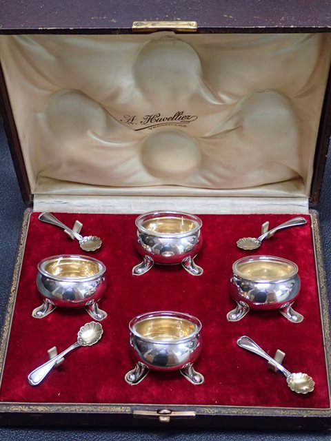 A boxed set of salts by Christofle in fitted box