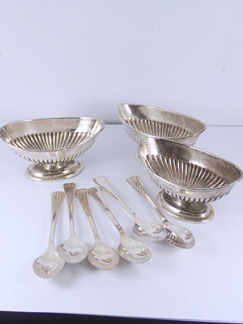 Three silver salts & a collection of silver salt spoons