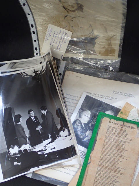 A collection of old pictures of JFK in the White House, & a signed photograph of Donald O'Connor, a