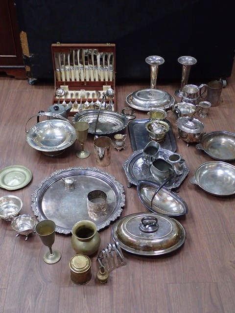 A collection of silver plated ware