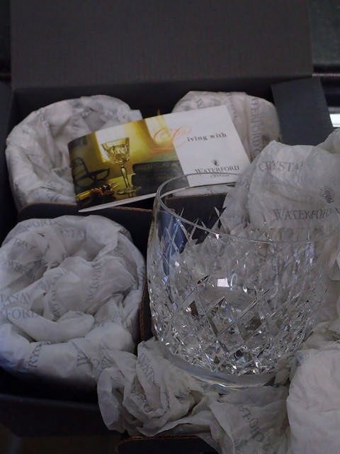 Four Waterford Crystal DOF tumblers glasses in box