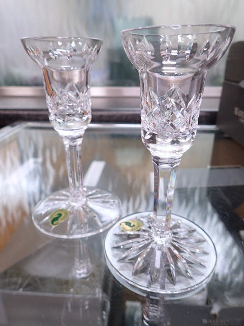 A pair of Waterford Crystal dwarf candle sticks in box