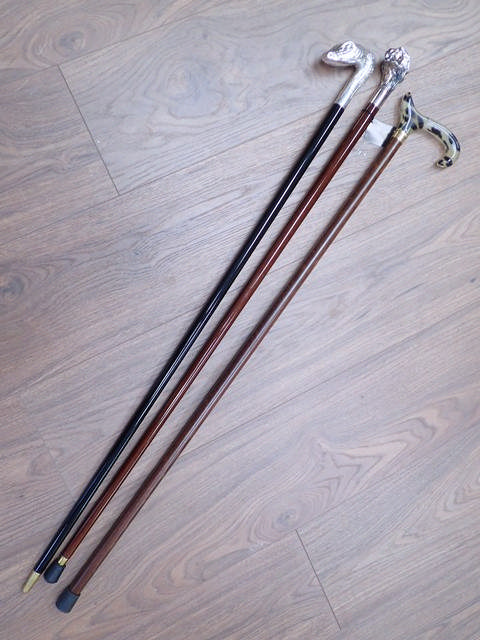 Three walking sticks, two with silver-plated tops