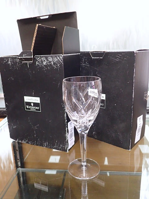Four Waterford Crystal John Rocha glasses in box