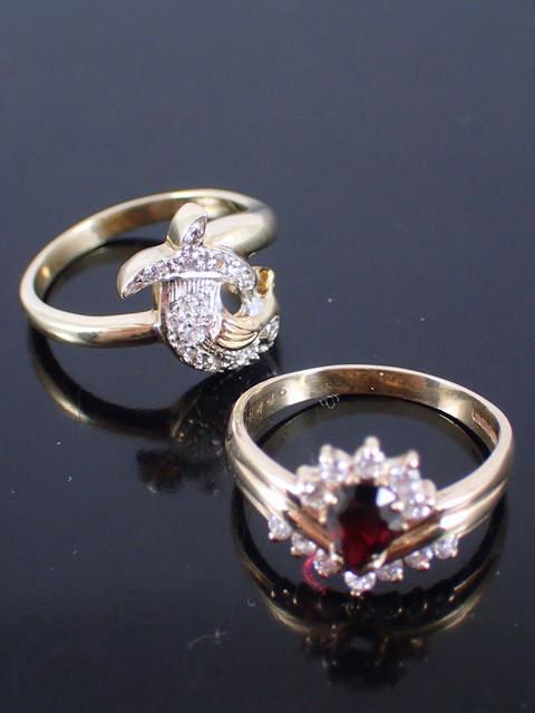 Two 9ct gold gem set dress rings rings