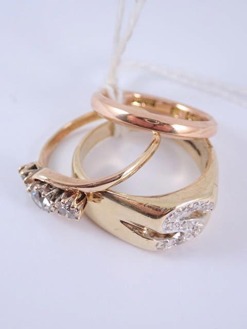 Three 9ct gold rings