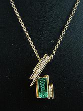 An gem & diamond set pendant on chain