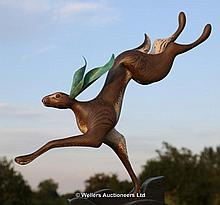 Chris Hindley, Hare, Carved and Painted Wood,