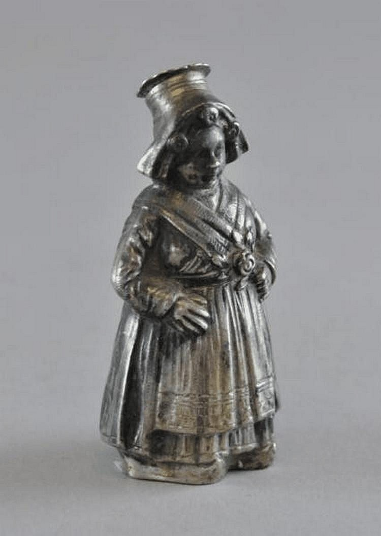 Dutch white metal pepper pot in the form of a