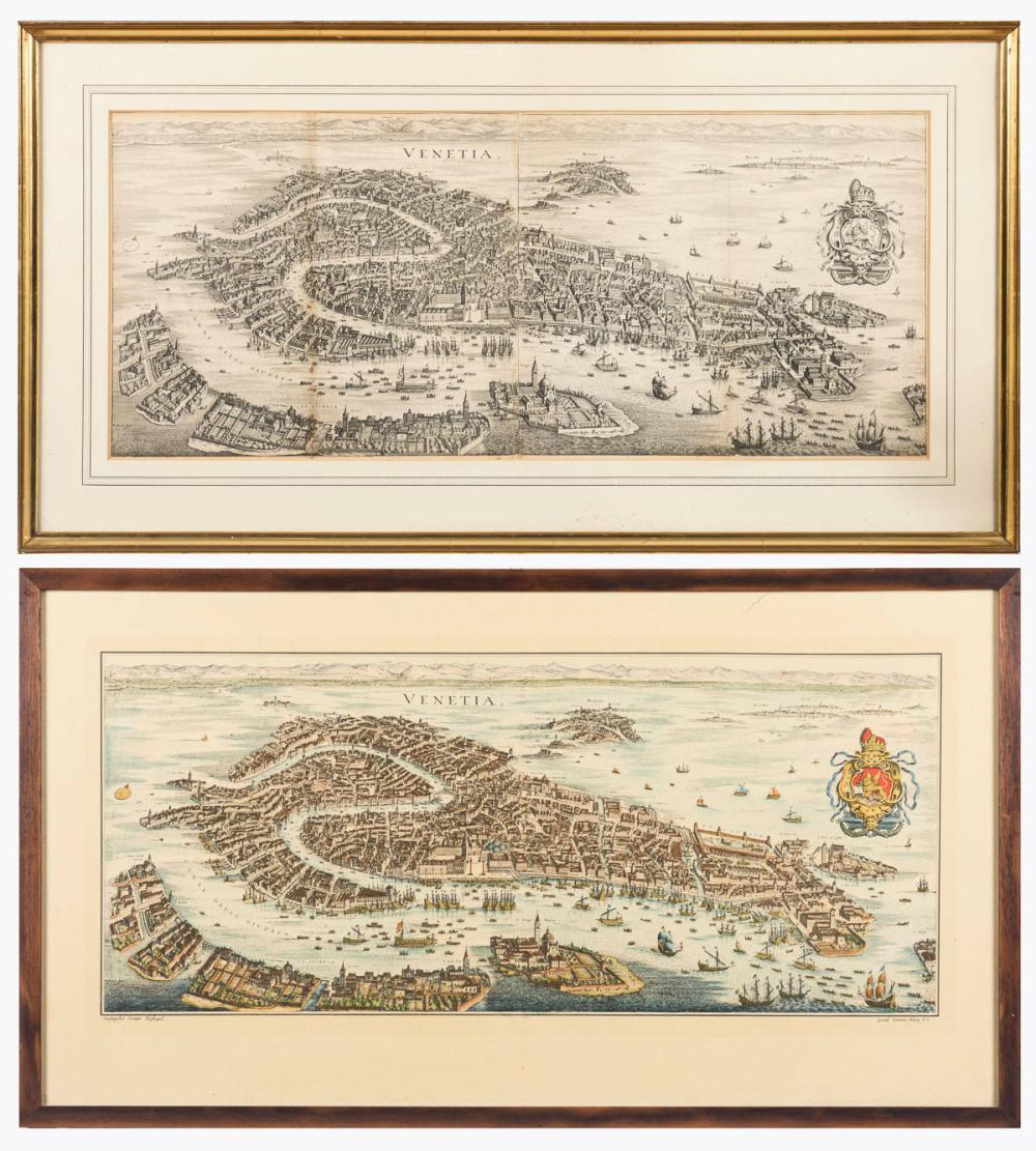 BLAEU, WILLEM JANSZOON / MERIAN, MATTHÄUS. 2 Panoramen von Venedig.