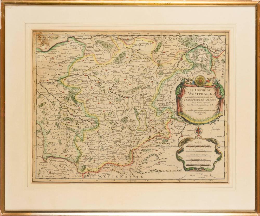 SANSON, Nicolas (1600 Abbeville - 1667 Paris). Landkarte des Herzogtums Westfalen.