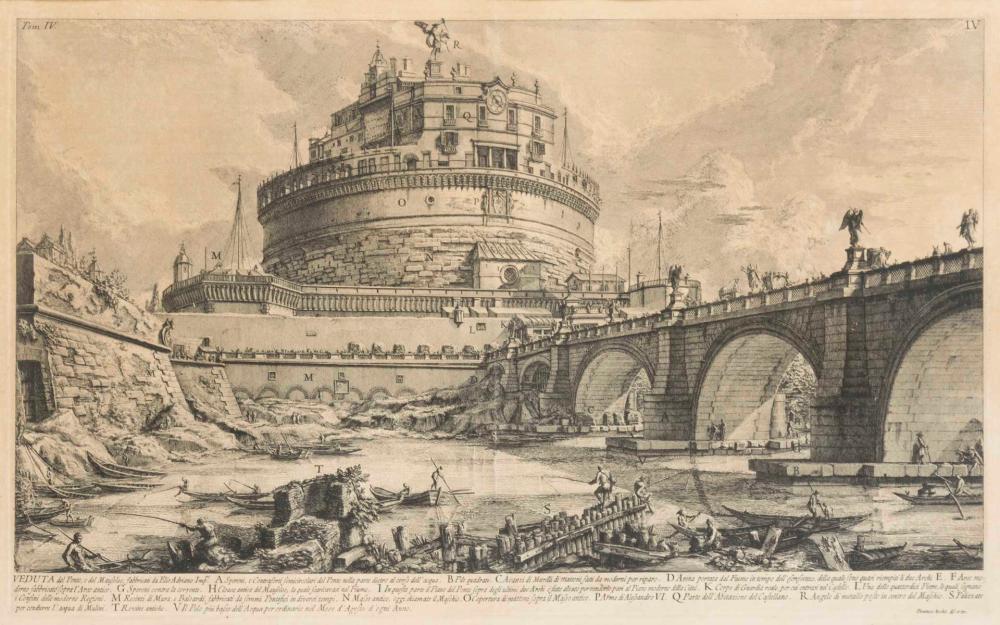 PIRANESI, Giovanni Battista (1720 Venedig - 1778 Rom). Blick auf die Engelsburg.