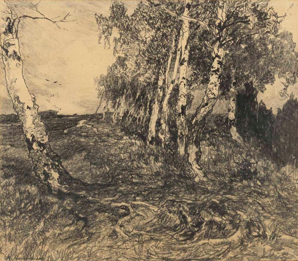 """HERMANNS, Rudolf (1860 Celle - 1935 Hannover). """"Birkengruppe""""."""