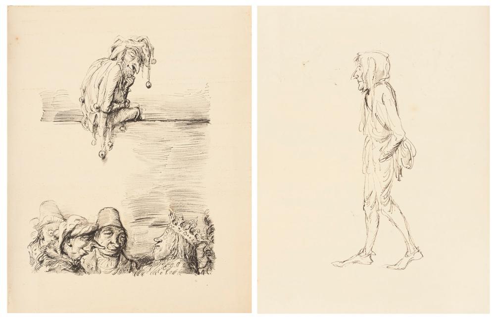 WEBER, Andreas Paul (1893 Arnstadt - 1980 Schretstaken). Beidseitige Narren-Tuschzeichnung.