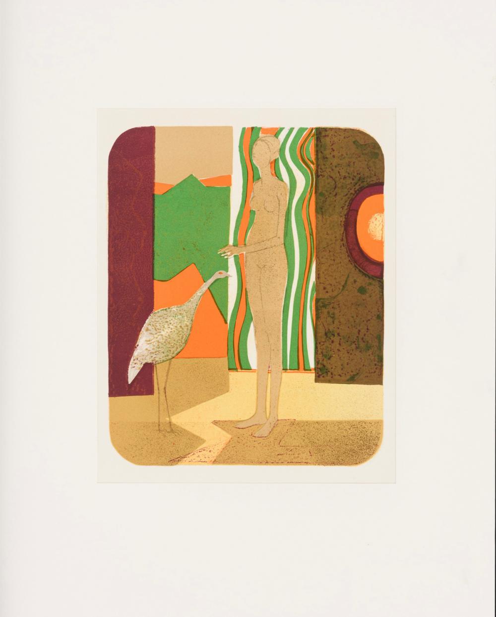 """MINAUX, André (1932 Paris - 1986 Touquin). """"La femme et I`oiseau""""."""