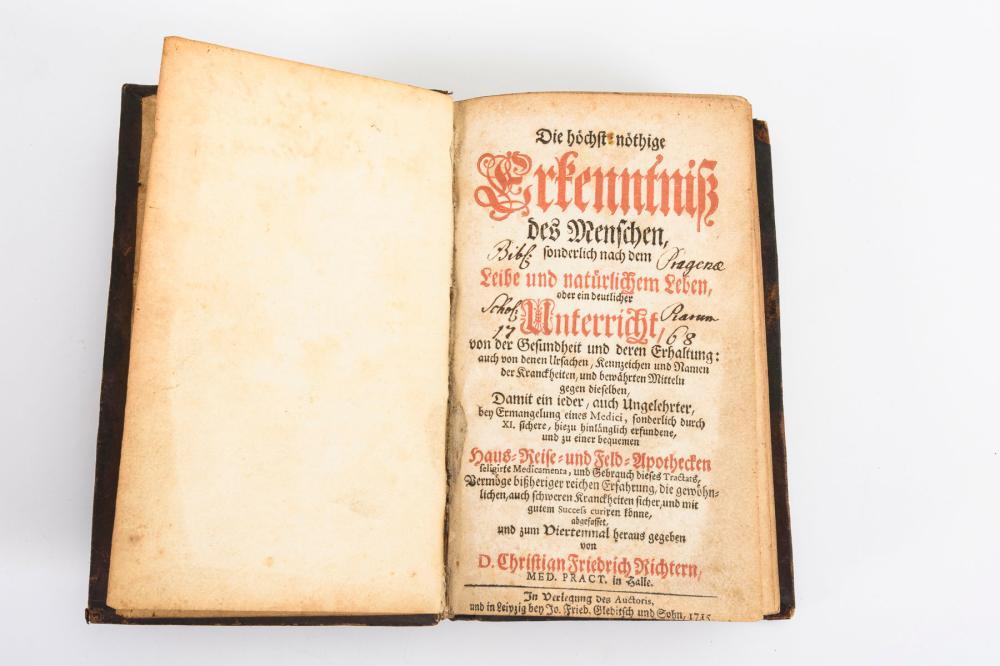 """RICHTER, Christian Friedrich. """"... Haus-Reise- und Feld-Apothecken""""."""