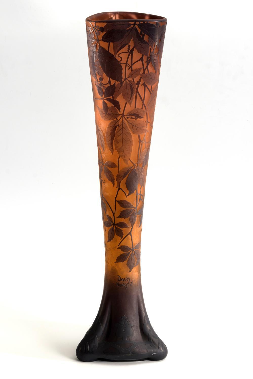 """Große Jugendstil-Vase """"Vigne vierge"""". Daum."""