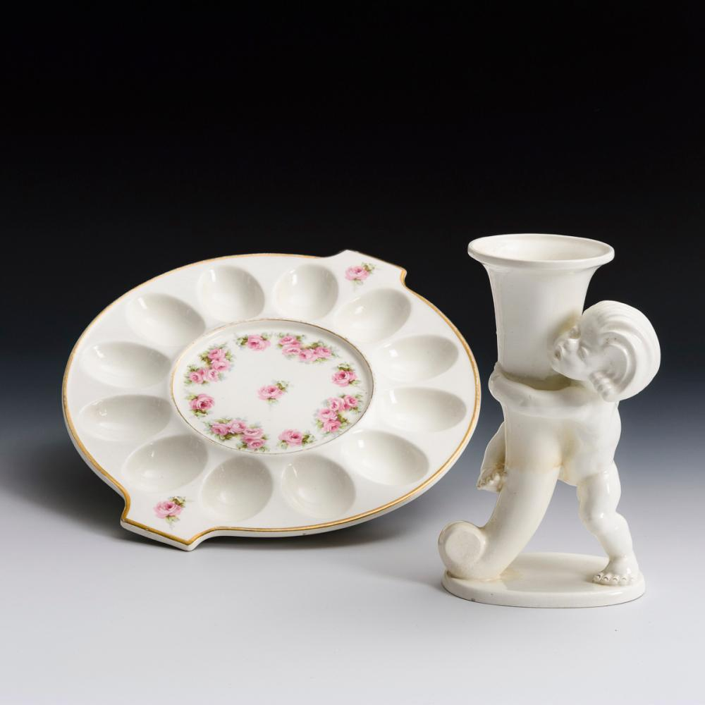 Kleine Art-déco-Vase und Eier-Servierplatte. Max Roesler.