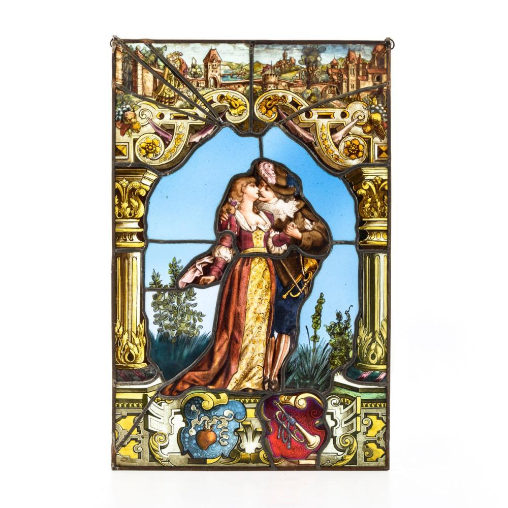 Bleiglasfenster: Der Trompeter von Säckingen mit Margaretha.