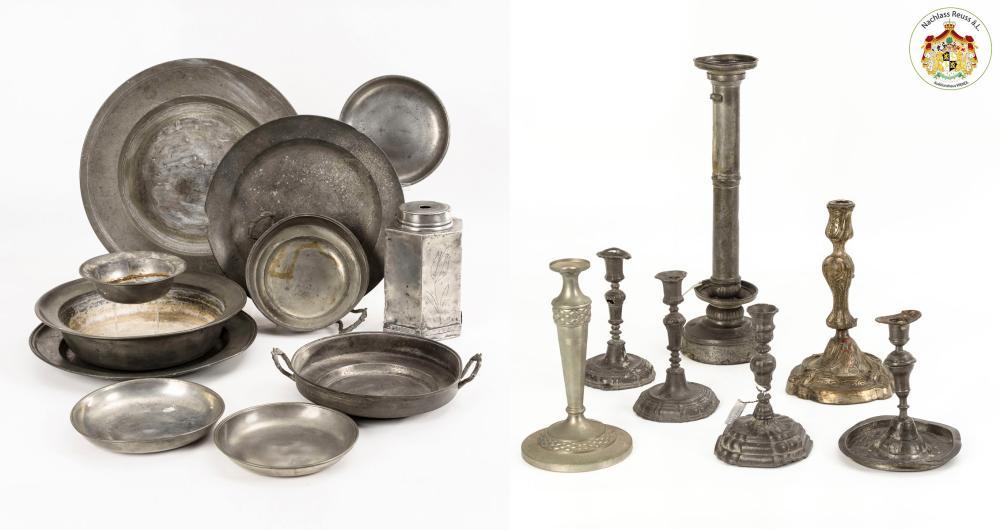 Konvolut 16x Zinn + 1 Bronze- und 1 Nickel-Kerzenleuchter.