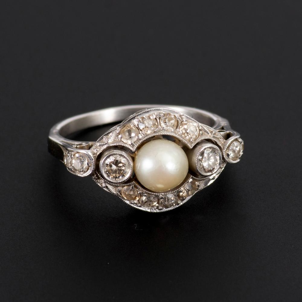 Perlen-Diamant-Ring.