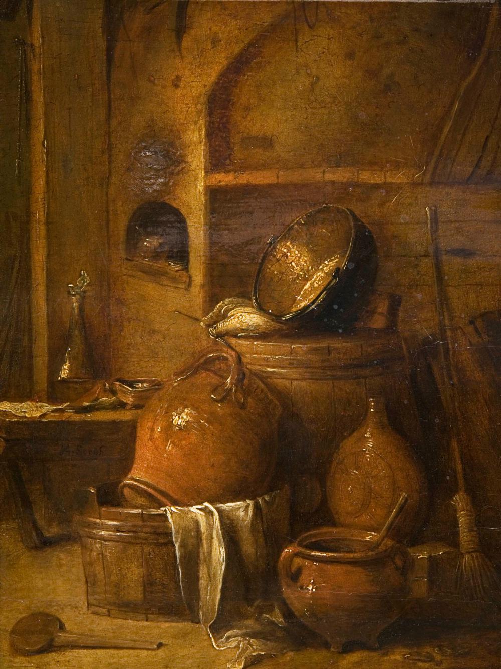 SORGH, Hendrik Martensz (1610 Rotterdam - 1670 Rotterdam). Stillleben mit diversen Gefäßen.