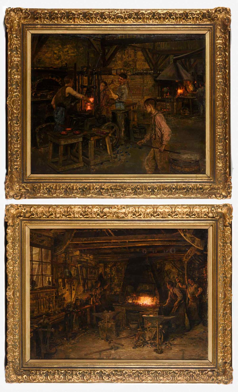 FIRMIN-GIRARD, François-Marie (1838 Poncin - 1921 Montluçon). Zwei Industriegemälde.