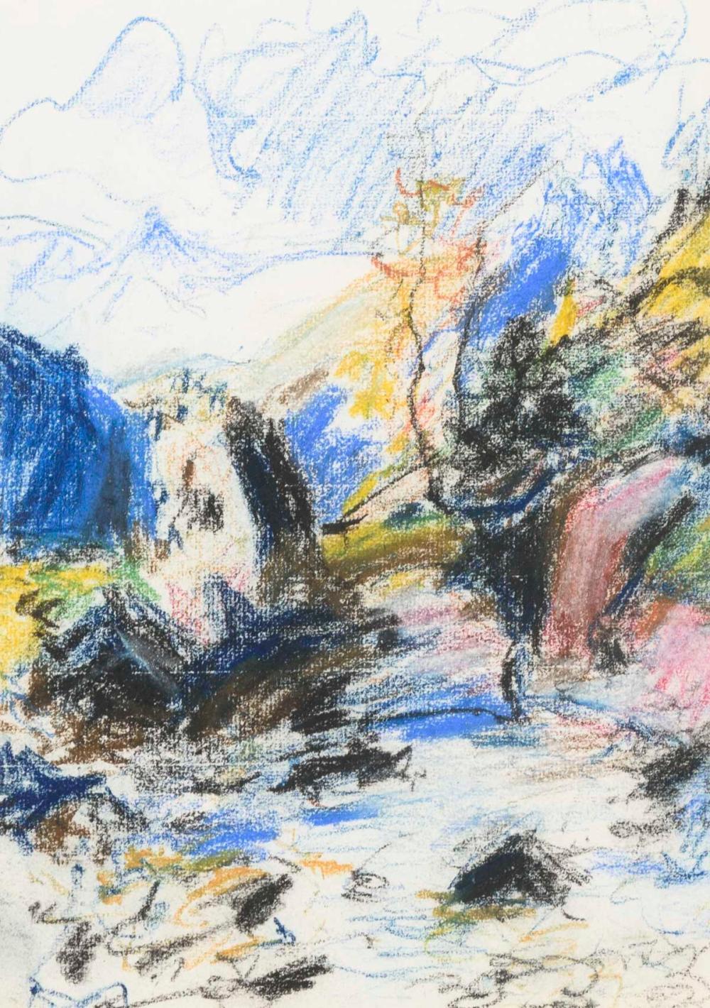SZPINGER, Alexander von (1889 Weimar - 1969 Weimar). Berge mit Bachlauf.