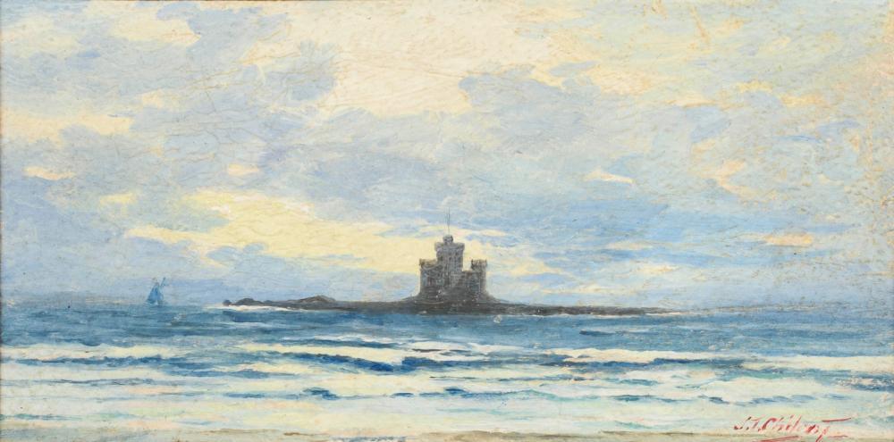 Seestück mit Burg an der Küste.