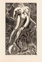 """NAUMANN, Hermann (*1930 Kötschenbroda). """"Variation zu Nemesis von Dürer""""."""