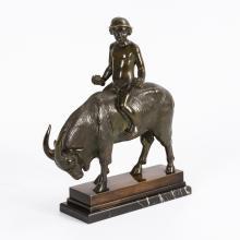 VIERTHALER, Johann Umkreis(?) (1869 München - 1957 Holzhausen). Knabe auf Ziegenbock, um 1910/20, Bronze.