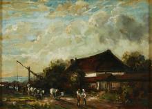 MELIS, Henricus Johannes (1845 Sas van Gent- 1923 Rotterdam). Melis, Henricus: Bauernlandschaft mit Vieh.