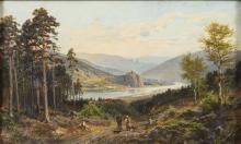 MÜHLIG, Bernhard (1829 Eibenstock - 1910 Dresden). Mühlig, Bernhard: Flusslandschaft mit Figuren.