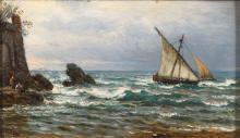 PAPE, Eduard (1817 Berlin - 1905 ebd.). Pape; Kleine Küstenlandschaft mit Boot.