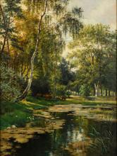 EICKEN, Elisabeth von (1862 Mühlheim/Ruhr - 1940 Michendorf). Waldinneres mit Teichufer.