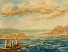 """NÜSSLEIN, Heinrich (1879 Nürnberg - 1947 Ruhpolding). """"Karaibisches Meer"""".."""
