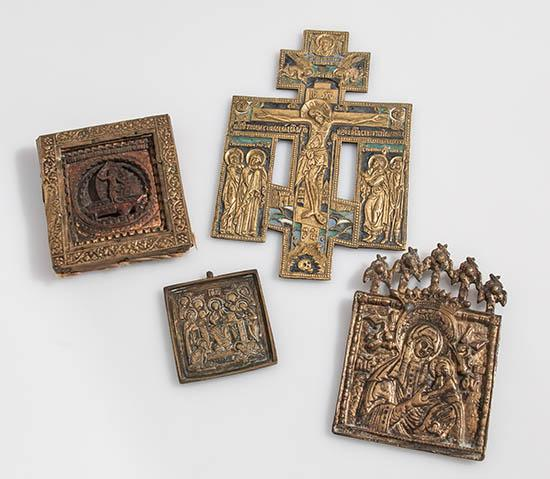 Group of Seven Russian Brass Icons and Crucifixes and a Wood Icon of The Resurrection 18th-19th Century
