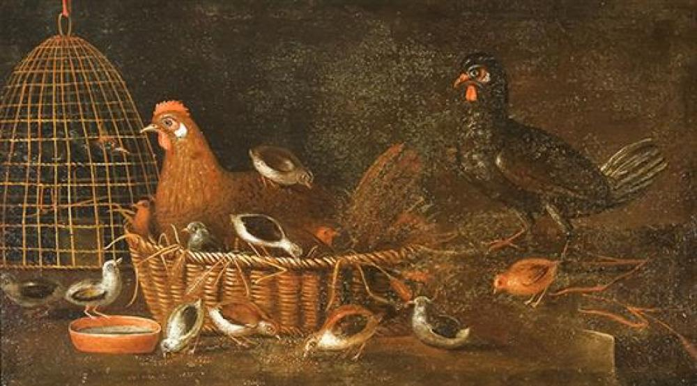 Continental School, 18th Century, Fowl and Their Young: Two Unsigned Oils on Canvas, 21-1/2 x 36 inches