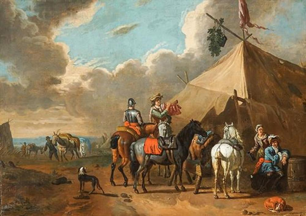 Attributed to Pieter van Bloemen (Dutch fl. 1657-1720), Men on Horseback in a Military Encampment