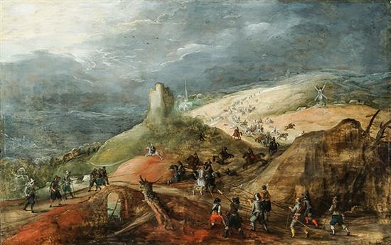 Joos de Momper (Flemish 1564-1635) and Sebastiaen Vrancx (Flemish 1573-1647), Battle Scene Before a Darkening Sky