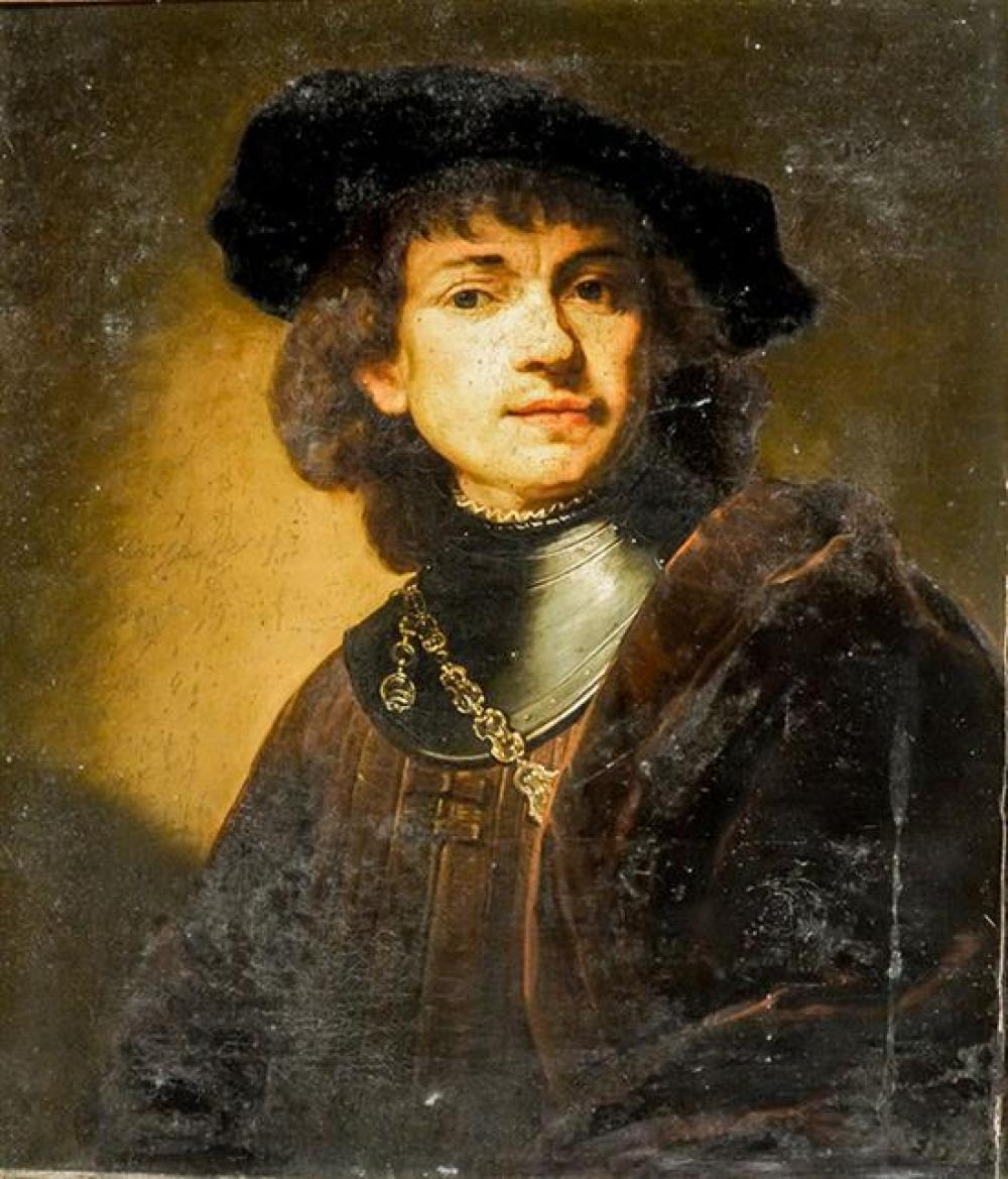 Louis Pisani (Italian 19th Century), Rembrandt's Self-Portrait as a Young Man, Unsigned Oil on Canvas, 24 x 21 inches