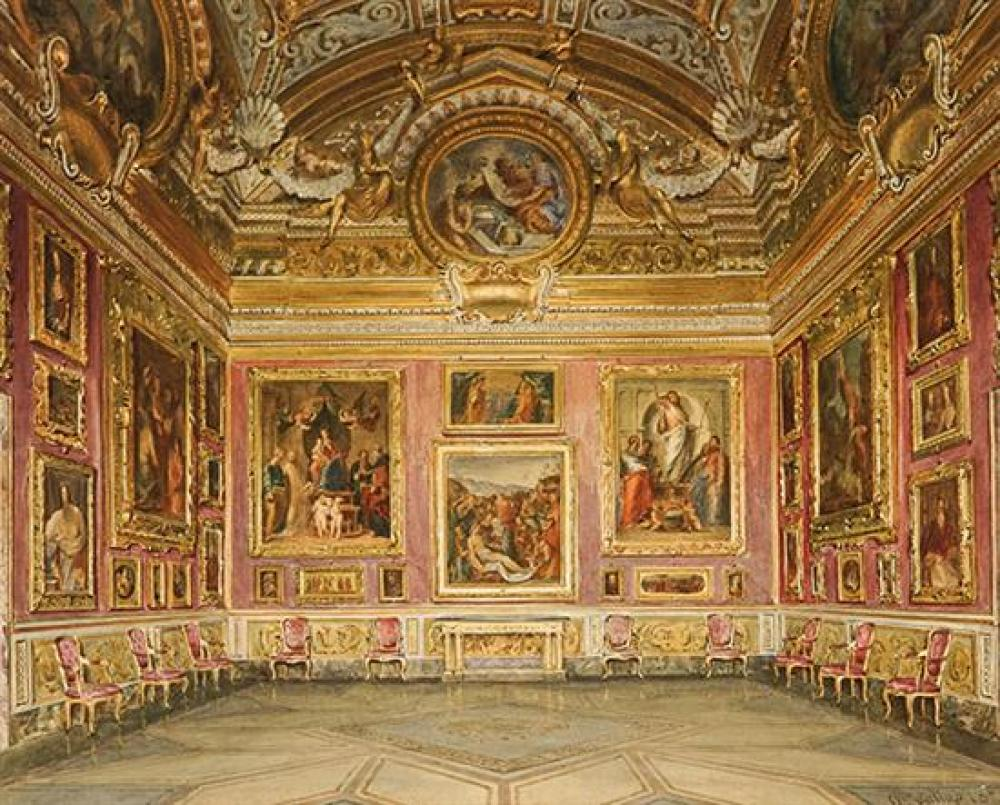Domenico Caligo (Italian fl. 1862-1880), Saturn Room, Pitti Palace, Florence, Signed Watercolor on Paper, 18 x 14 inches