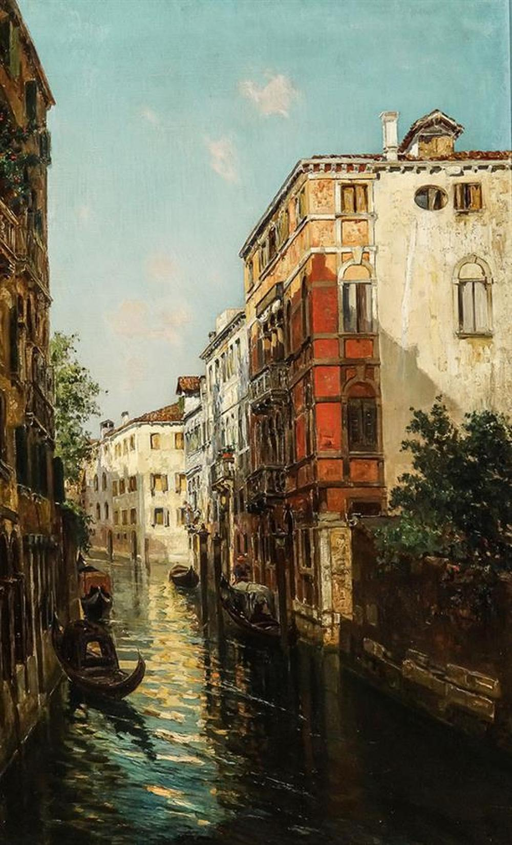 Bernardo Hay (British 1864-1931), Sunlight and Shadow, Venice, Signed Oil on Canvas, 37-3/4 x 23-1/2 inches