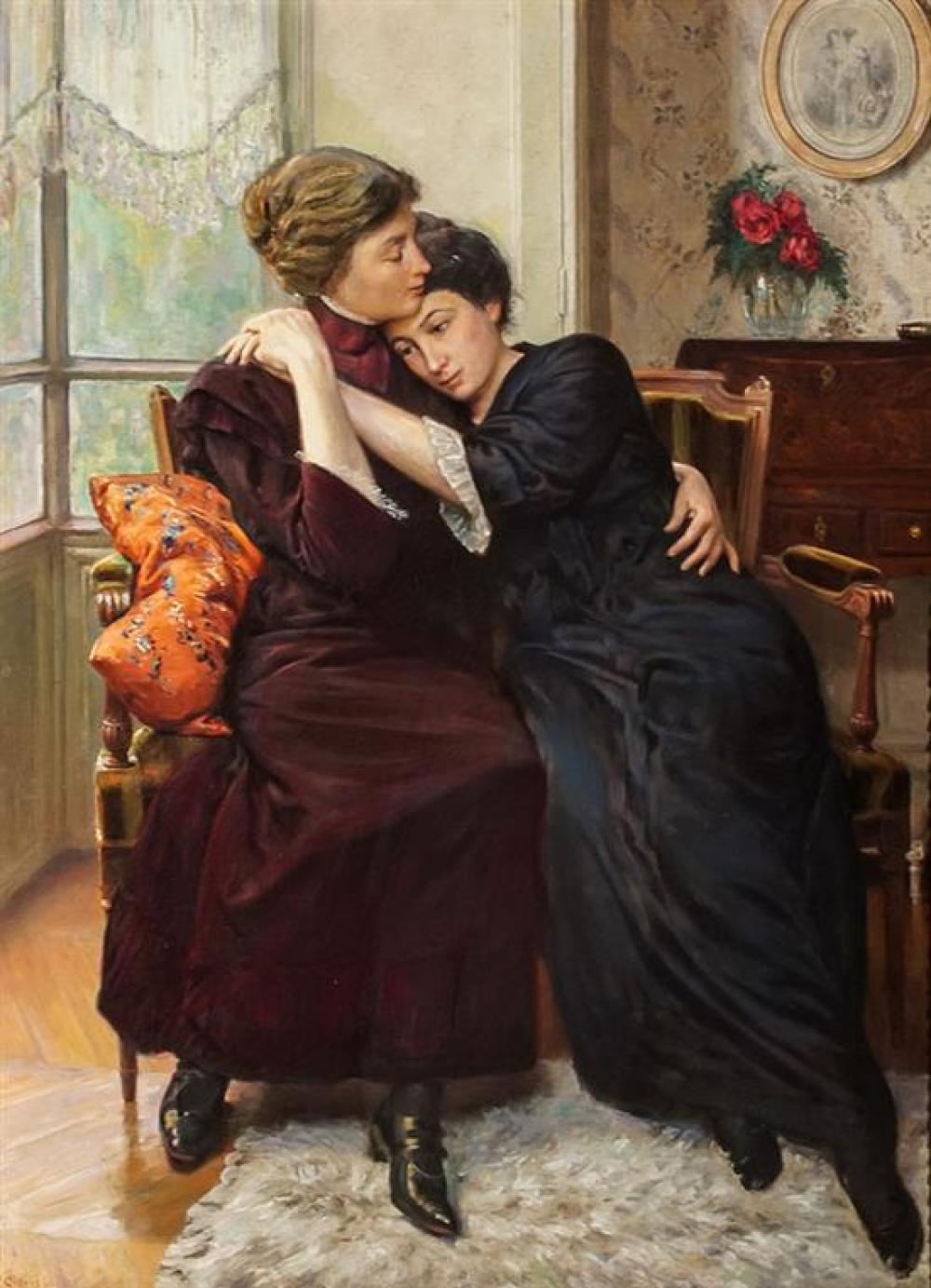Clovis François Auguste Didier (French 1858-1939), A Consoling Mother, Oil on Canvas. 44 x 32 inches