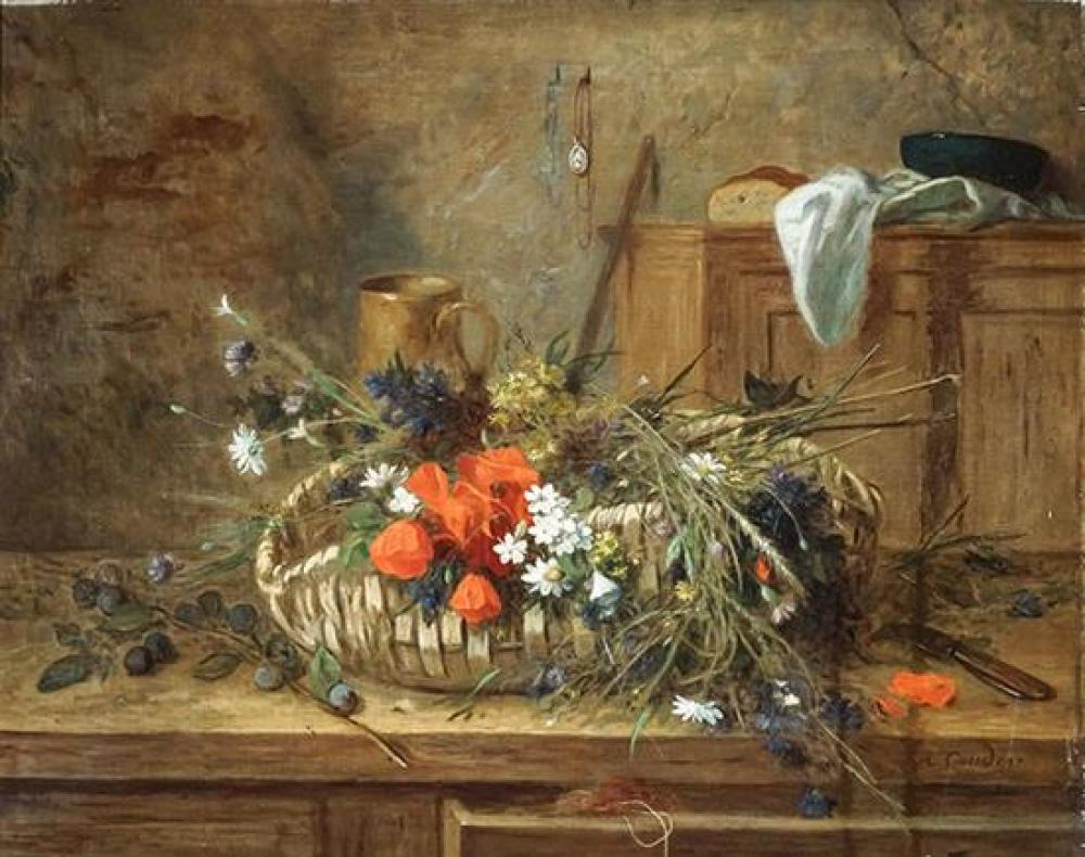 Jean Alexandre Rémy Couder (French 1808-1879), Still Life of Flowers in a Woven Basket
