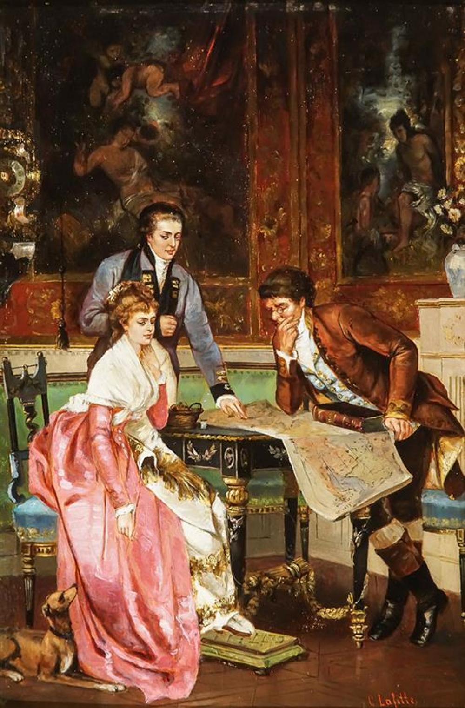 Gerard Lafitte (French 19th Century), Salon Scenes: Two Works